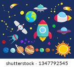 cosmos set. planets  spaceship... | Shutterstock .eps vector #1347792545