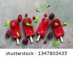 flat lay homemade raspberries... | Shutterstock . vector #1347803435