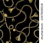print with gold chains and... | Shutterstock .eps vector #1347830018