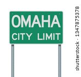 omaha city limit road sign | Shutterstock .eps vector #1347875378