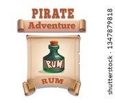 cute cartoon icon bottle rum on ...
