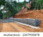 gabion  retaining wall is built ... | Shutterstock . vector #1347930878