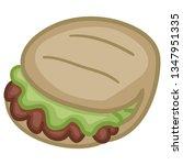 pita turkish. food doodle color ... | Shutterstock .eps vector #1347951335