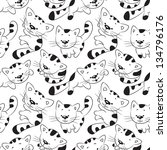 seamless pattern  funny cartoon ... | Shutterstock .eps vector #134796176