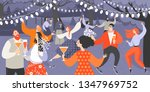 retro garden party with people... | Shutterstock .eps vector #1347969752
