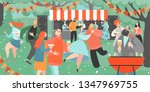 retro garden party with people... | Shutterstock .eps vector #1347969755