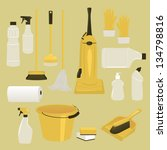 set of cleaning supplies and...   Shutterstock .eps vector #134798816