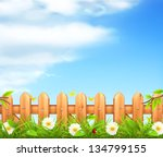 spring background  grass and... | Shutterstock .eps vector #134799155
