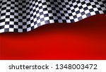 waving checkered racing flag on ... | Shutterstock .eps vector #1348003472