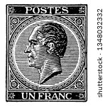 This image represents Belgium Un Franc Stamp in 1865, vintage line drawing or engraving illustration.