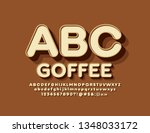 vector emblem coffee with 3d... | Shutterstock .eps vector #1348033172