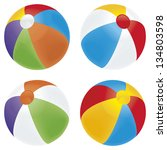 a selection of beach balls in... | Shutterstock .eps vector #134803598