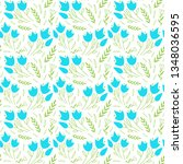 simple floral pattern with blue ... | Shutterstock .eps vector #1348036595