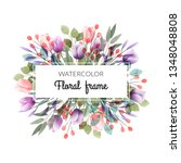 watercolor floral frame with...   Shutterstock .eps vector #1348048808