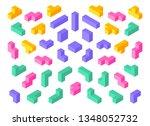 tetris shapes. isometric 3d... | Shutterstock .eps vector #1348052732