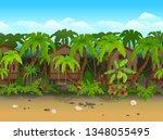 seamless cartoon beach...   Shutterstock .eps vector #1348055495