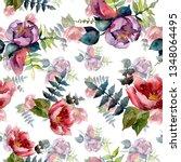 bouquet composition botanical... | Shutterstock . vector #1348064495