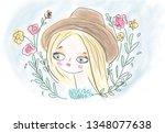 cute girl in flowers. summer... | Shutterstock . vector #1348077638