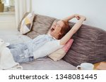 relaxed young woman relaxing on ... | Shutterstock . vector #1348081445
