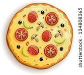 italian pizza with tomato ... | Shutterstock .eps vector #134808365