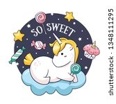 kawaii round sticker with hand... | Shutterstock .eps vector #1348111295