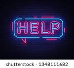 help neon sign vector. help... | Shutterstock .eps vector #1348111682