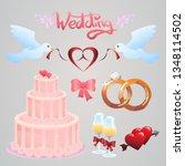 set of wedding icons vector for ... | Shutterstock .eps vector #1348114502