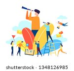 business team in a flat style... | Shutterstock .eps vector #1348126985