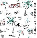 hawaii  aloha theme seamless... | Shutterstock .eps vector #1348133408