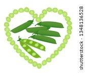 green peas and pods of peas... | Shutterstock .eps vector #1348136528