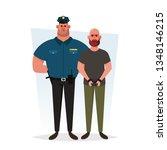 Strong Police Officer Arresting a Criminal. Cartoon Style. Vector Illustration