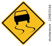 vector slippery road sign | Shutterstock .eps vector #134815166