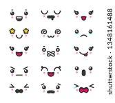 kawaii cute faces emoticons... | Shutterstock .eps vector #1348161488