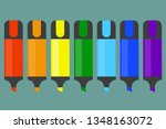 marker pens  highlighter pens... | Shutterstock .eps vector #1348163072