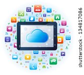 tablet app with cloud computing ... | Shutterstock .eps vector #134817086