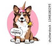welsh corgi dog in a pink ice... | Shutterstock .eps vector #1348180295