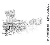Naples. Italy. European city. Hand drawn street cafe sketch. Vector illustration.