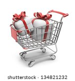 Market cart with gifts. 3D Isolated on white background - stock photo