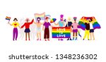 Gay Parade. Interracial Group...