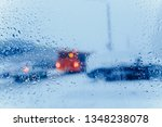 traffic abstract in winter.... | Shutterstock . vector #1348238078