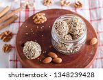 energy balls cakes with almonds ... | Shutterstock . vector #1348239428