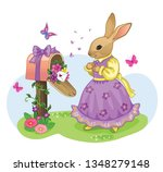 vintage easter poster with a... | Shutterstock .eps vector #1348279148