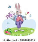 cute white rabbit or bunny with ... | Shutterstock .eps vector #1348282085