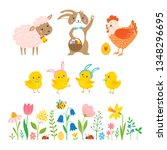 Easter Set Of Cute  Bunny  Lamb ...