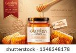 garden honey ads with dipper... | Shutterstock .eps vector #1348348178
