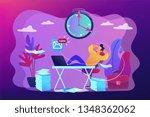 Stock vector procrastinating businessman sitting with legs on office desk postponing work procrastination 1348362062
