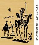 Schematic representation of Don Quixote and his squire