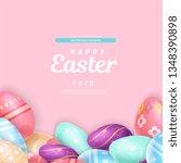 adorable happy easter 2019...   Shutterstock .eps vector #1348390898