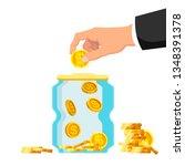 money saving concept. the hand... | Shutterstock .eps vector #1348391378