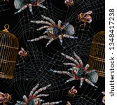 embroidery spider  gold cage... | Shutterstock .eps vector #1348417238